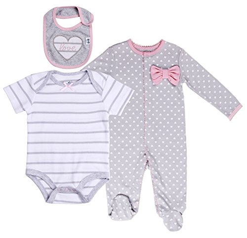 Baby Girls' Layette Sets 3-Piece Footed Long-Sleeve Pajama, Bodysuit and Bib. Size 0-3 Month - 3 Piece Long Sleeve Pajama Set