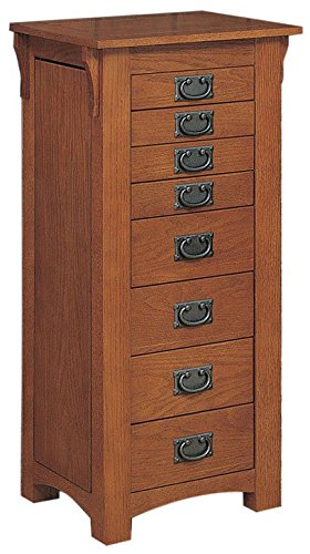 - Powell Mission Oak Jewelry Armoire