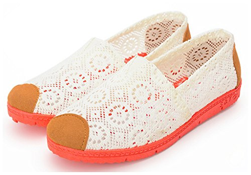 NEWZCERS La flor ocasional de la lona de la manera bombea los zapatos de los planos para las mujeres blanco