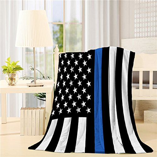Beauty Decor American Bed Blanket 50x60 inch Flannel Blankets Law Enforcement Thin Blue Line USA Flag Air Conditioning Throw Blanket for Bedroom Living Rooms Sofa Throw Cover