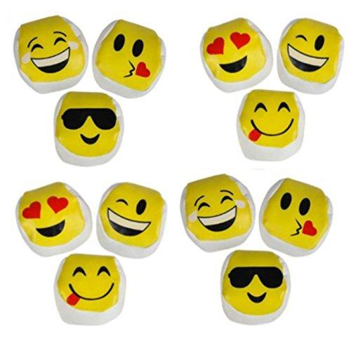 Play Sack - 12 Assorted Emoji Kickball - Emoticon Hacky Sacks Party Kick Balls - Play Kreative TM