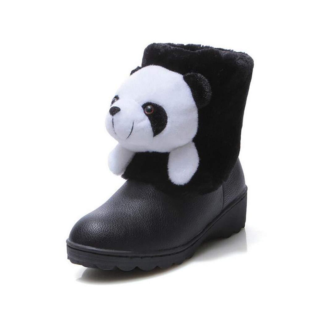 Hy Frauen Schnee Stiefel Winter Künstliche PU Warm Winddicht Snowproof Stiefelies/Mode Stiefel/Damen Flache Skifahren Schuhe (Farbe : Schwarz, Größe : 36)