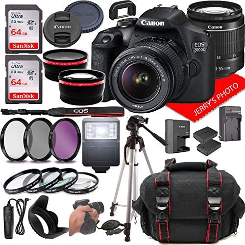 51tPe9BdLtL. AC  - Canon EOS 2000D (Rebel T7) DSLR Camera w/Canon EF-S 18-55mm F/3.5-5.6 Zoom Lens + Case + 128GB Memory (28pc Bundle)