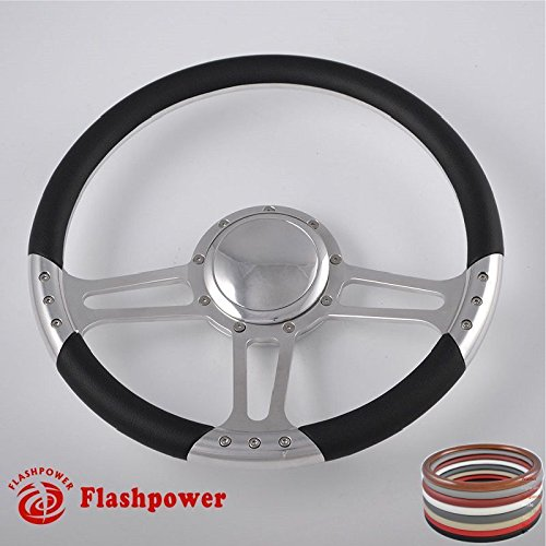 Billet Half Wrap Steering Wheel - Flashpower 14'' Billet Half Wrap 9 Bolts Steering Wheel with 2'' Dish and Horn Button(Black)