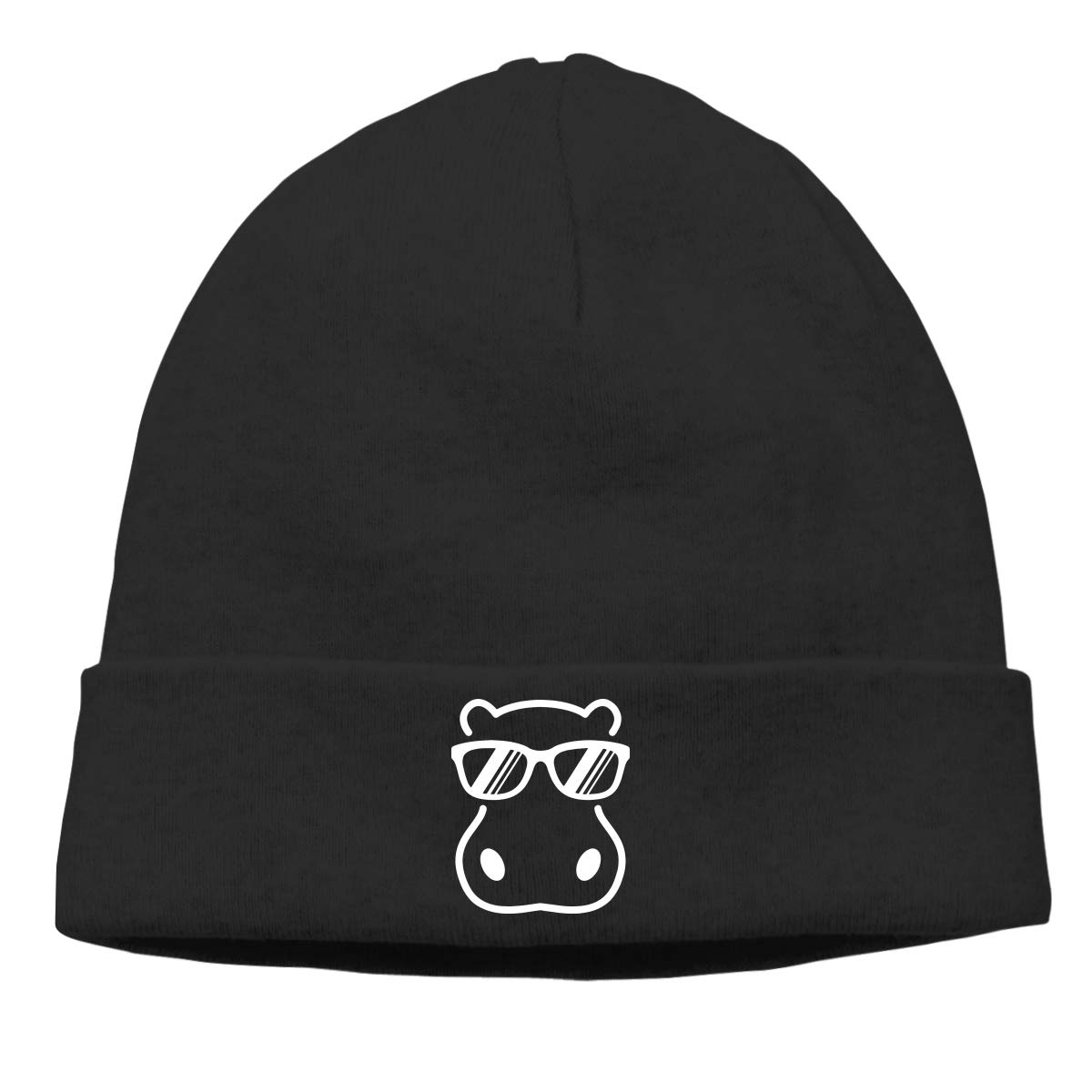 Sootot Hippopotamus Wearing Sunglasses Beanie Hats Cap Men /& Women Warm /& Stylish Skull Cap Winter Hats