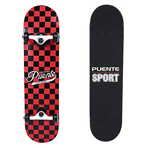 PUENTE Skateboards Complete for Adults and Kids Beginners, ABEC-9 BBS, 95A Anti-Slip Smooth and Mute Wheel Skate Board (602 Black and Red) (Renewed) ()