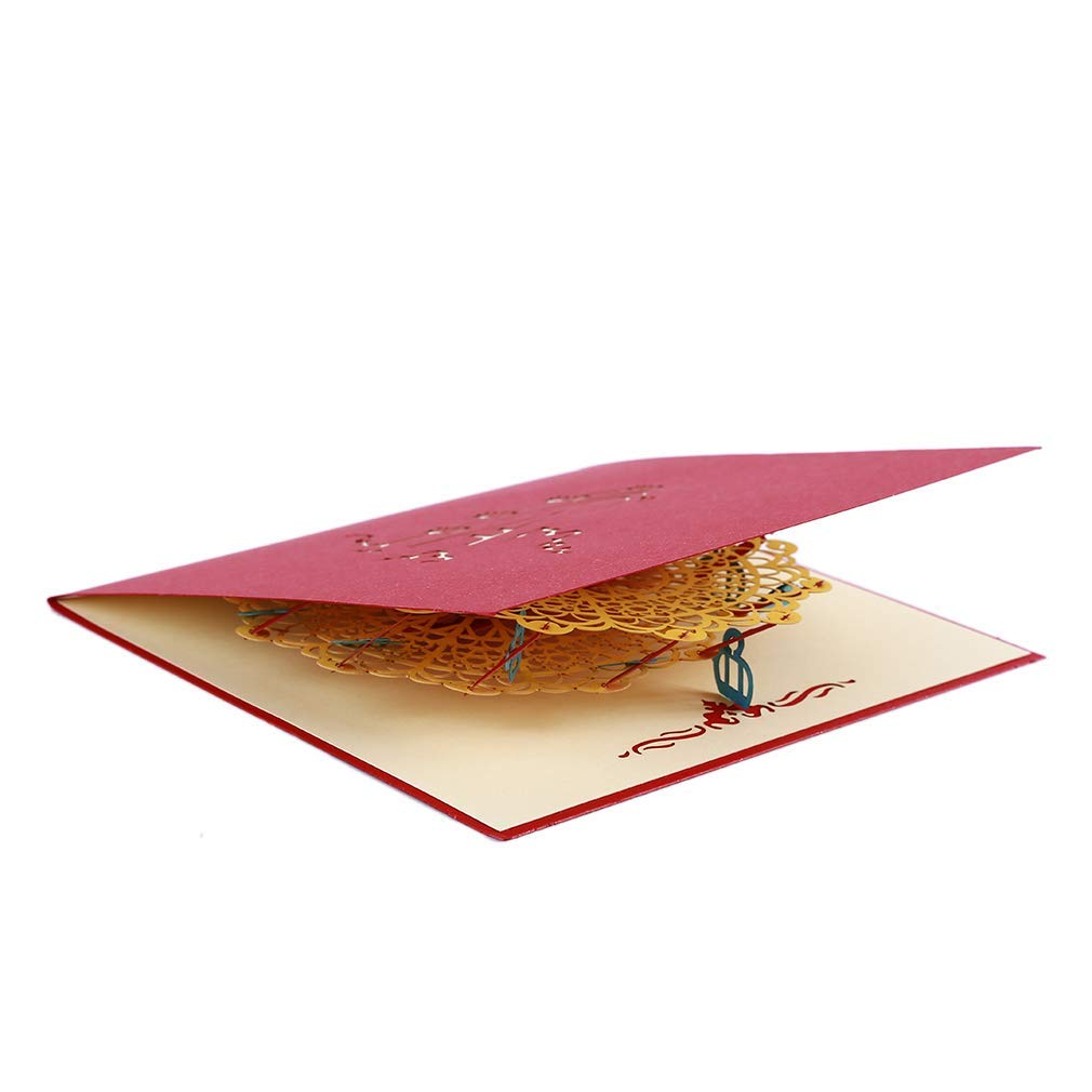 Fliyeong Premium Quality Paper Craft Pop-Up Chinese Dragon 3D Greeting Cards