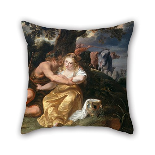 Artistdecor Throw Cushion Covers 16 X 16 Inches / 40 By 40 Cm(double Sides) Nice Choice For Couples,couch,birthday,father,dining Room,bar Oil Painting Thomas, Jan - Shepherd And (Shepherdess Costume)