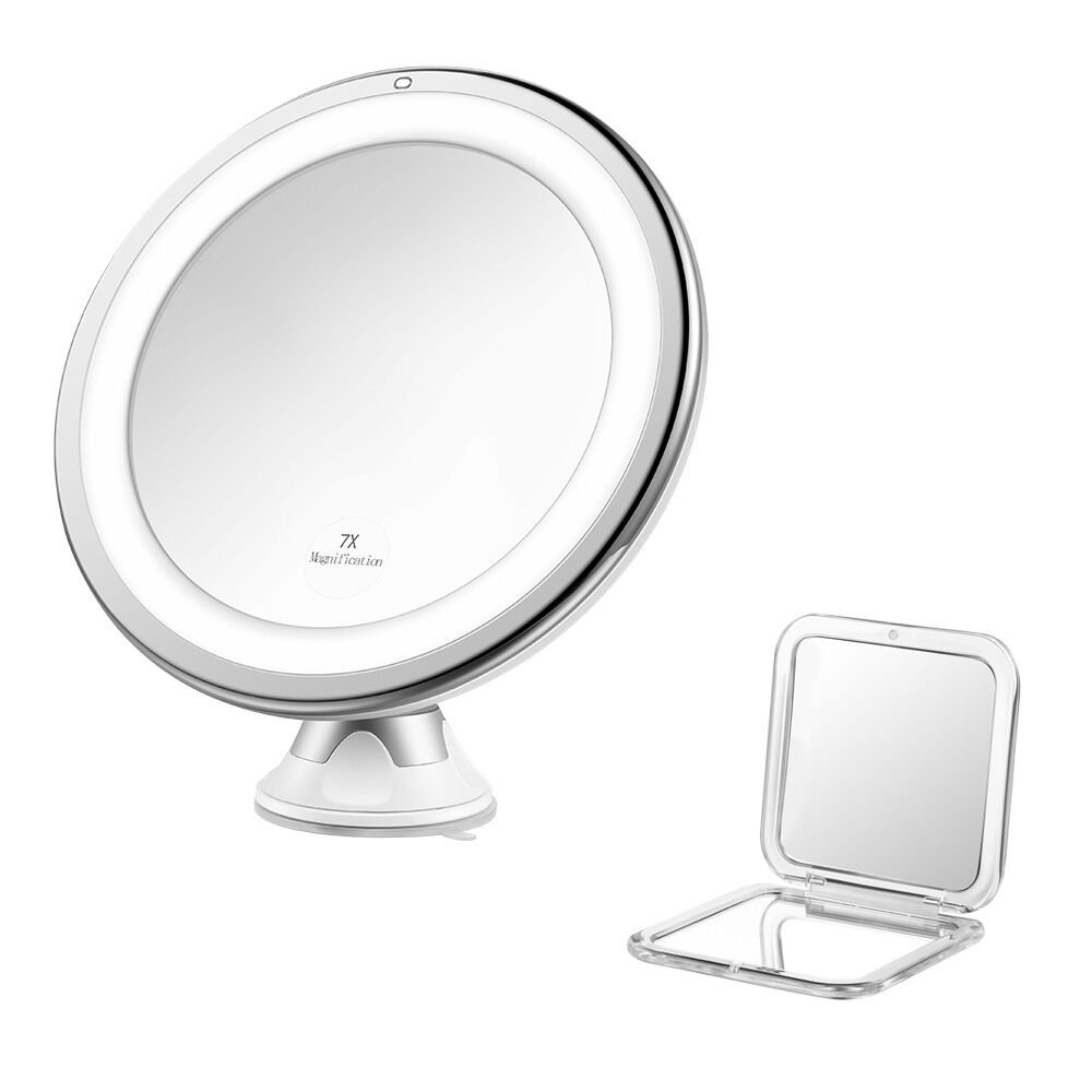 jerrybox espejo plegable con ventosa redondo con luz led ajustable y aumento de x