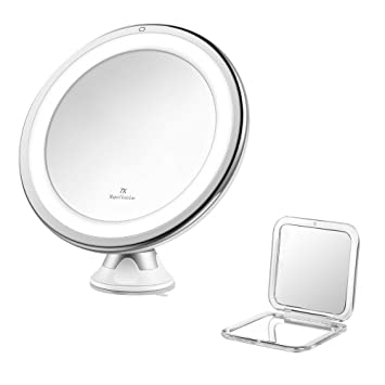Jerrybox LED Lighted Makeup Mirror 7x Magnification Adjustable Dimmable Cordless Collapsible