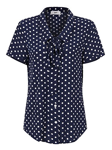 Choies Women Royal Blue Vintage Bow Tie Front Polka Dot Print Short Sleeve Shirt Tops XL - Multi Polka Dot Print