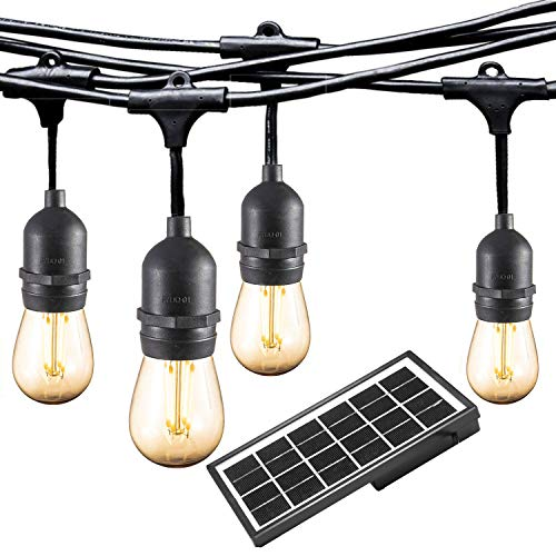 (Ashialight Solar LED Outdoor String Lights with Hanging Sockets - Heavy Duty Lights,Waterproof,42Ft 10 Lights LED Bistro/Cafe Lights,Low Voltage,Vintage Edison Bulbs,Commerial Patio String Lights)