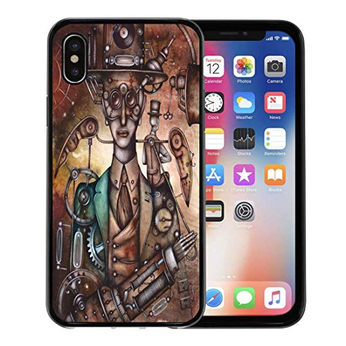 Semtomn Phone Case for Apple iPhone Xs case,Carnival Steampunk Man Mask Masquerade Vintage Cinema Costume for iPhone X Case,Rubber Border Protective Case,Black -