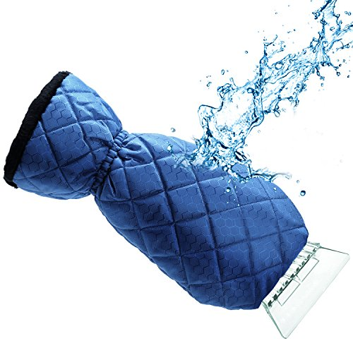 Ice Scraper Mitt For Car Windshield Snow Scrapers with Waterproof Glove Lined of Thick Fleece + Carry Pouch (Blue)