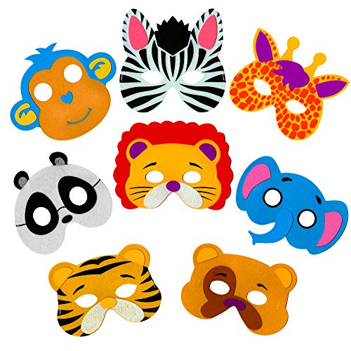 Animal Colorful Zoo - Little Seahorse Zoo Animal Masks for Kids Party - 8 Assorted Felt Masks, Birthday Parties Supplies