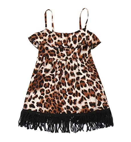 YOUNGER TREE Kids Toddler Baby Girls Dress Outfit Leopard Print Tassel Ruffle Causal Sundress Tutu Skirt Summer Dresses Clothes (Leopard Print, 18-24 Months)]()
