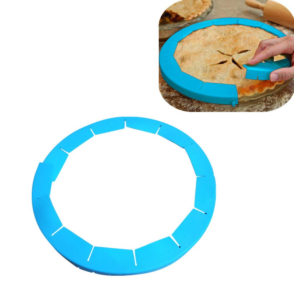 Sikye Pie Crust Shield,Dishwasher Safe,BPA-Free Silicone, Adjustable Pie Protectors,Blue, Fits 8.5' - 11.5' Rimmed Dish Fits 8.5 - 11.5 Rimmed Dish