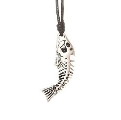 Fish skeleton bones 2 silver pewter charm necklace pendant jewelry fish skeleton bones 2 silver pewter charm necklace pendant jewelry amazon aloadofball Image collections