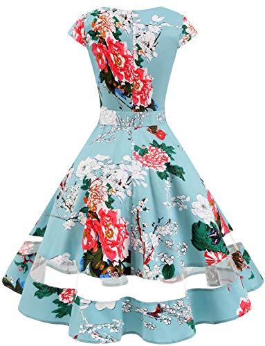 Da Abito Vestito Audery Con Maniche Retrò Annata Swing Corte Floral 1950 Cocktail Rockabilly Gardenwed Partito Polka qwxzgf0XXY