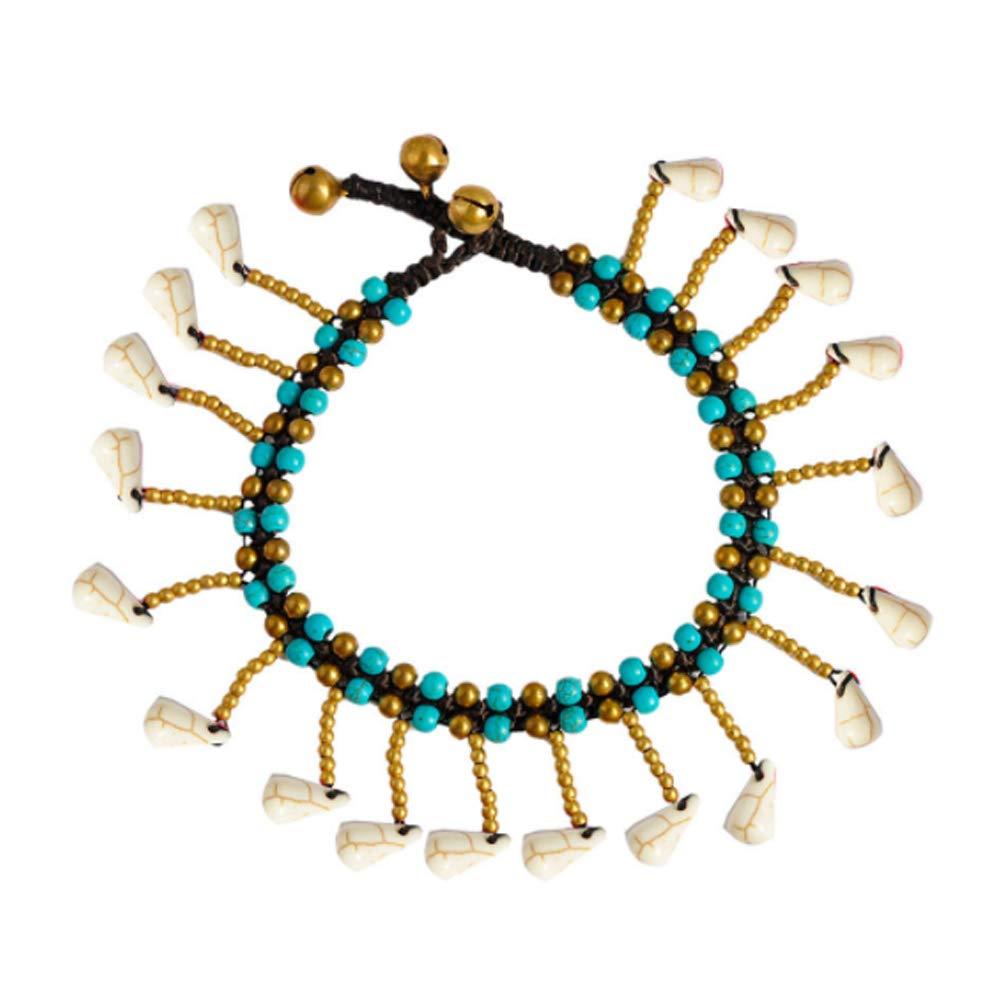 White Hemore Turquoise Anklet for Women Teen Girls Bohemia Anklet Bracelet Jingles Turquoise Beaded Bell Beach Anklets