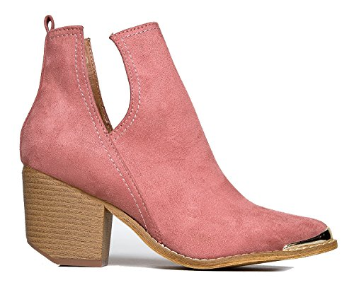 Tess Slip Metal On Pink Western Bootie J Boot Heel Rose Stacked Cut Adams V Out Tipped xBRqW1