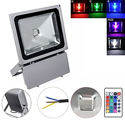 GEROWA Outdoor Security High Powered 100W Waterproof RGB LED Flood Light, Color Changing LED Security Light, 16 Colors & 4 Modes, Remote Control Included, LED Floodlight, Wall Washer Light