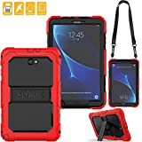 SEYMAC for Samsung Galaxy Tab A 10.1 Cover, Three Layer Heavy Duty Soft Silicone Bumper Shockproof Protective Case with [Kickstand ][Shoulder Strap] for Galaxy Tab A6 10.1''SM-T580/T585 (Black/Red)