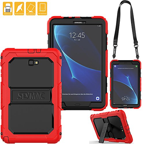 SEYMAC for Samsung Galaxy Tab A 10.1 Cover, Three Layer Heavy Duty Soft Silicone Bumper Shockproof Protective Case with [Kickstand ][Shoulder Strap] for Galaxy Tab A6 10.1''SM-T580/T585 (Black/Red) by SEYMAC