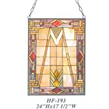 HF-193 Vintage Tiffany Style Stained Church Art Glass Decorative Geometric Figure Window Hanging Glass Panel Suncatcher, 24''x17.5''