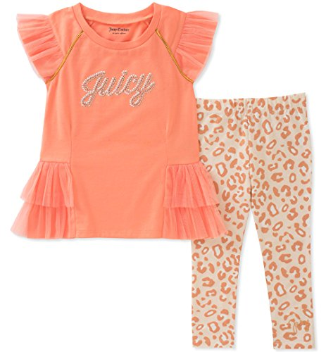 Juicy Couture Girls' Toddler' 2 Pieces Tunic Set, Coral/Print, 2T (Juicy Couture Print Dress)