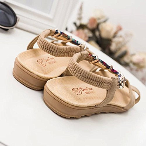 Casual Mujer Playa Cómodos Zapatos Bohemia Abierta con Sandalias Verano Bajos Beige Chancleta Moda Chanclas LuckyGirls Punta 0xUR8qw