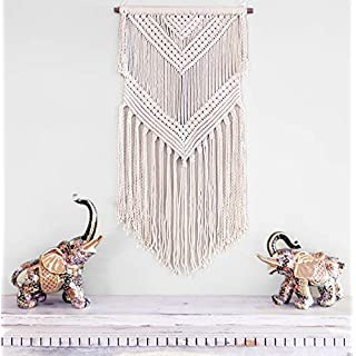 Boho Macrame Woven Wall Hanging Beige 16 x 36 Inch Modern Bohemian Wall Decor for House, Apartment, Dorm, Bedroom, Nursery