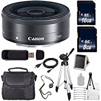Canon EF-M 22mm f/2 STM Lens + 16GB SDHC Class 10 Memory Card + 8GB SDHC Class 10 Memory Card 6AVE Bundle 15 (International Verion) No Warranty