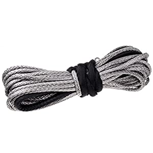 "Winch Rope Synthetic Fiber Cable ATV UTV SUV KFI Recovery Replacement (50' x 3/16"" 5400lbs, Gray)"