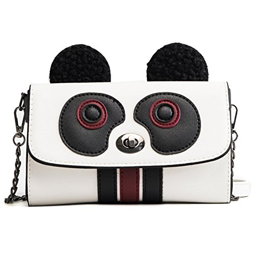 Incense Woman Single Shoulder Bag Bag Colored Panda Single Shoulder Bag Lock Bag, White White