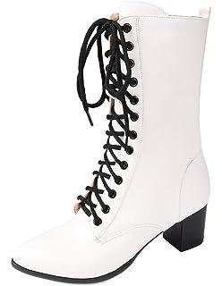 Carré Mode Bout Bloc Bottines Talon Chaussure Montante Femme Easemax Yy6g7bf
