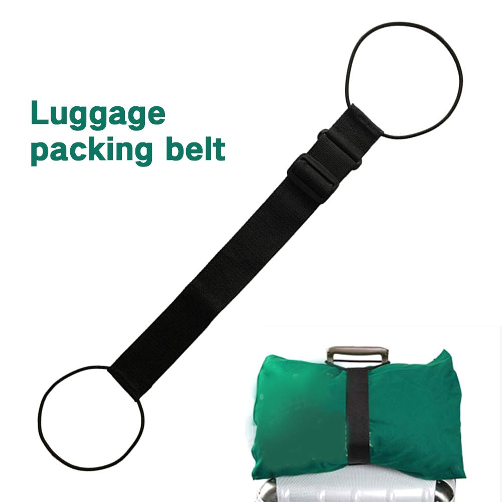 Black Luggage Strap Suitcase Elastic Adjustable Packing Belt Travel Portable Strong Nylon