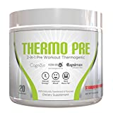 THERMO PRE - All-Natural 2-In-1 Pre Workout Thermogenic Fat Burner, Non-Habit Forming Sustained Energy Weight Loss Formula with KSM-66 Ashwagandha, Capsimax and Cognizin, Strawberry Punch, 20 Serving