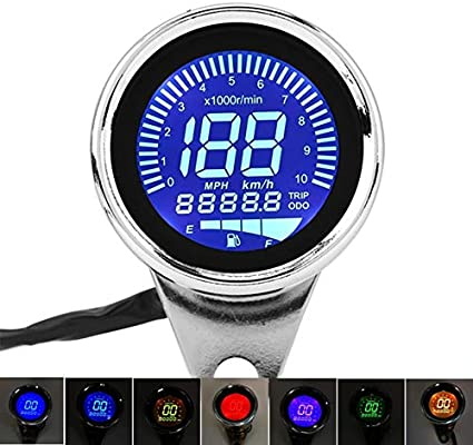 Universal Motorcycle Digital LED Speedometer Tachometer Gas Fuel Gauge 12V Metal