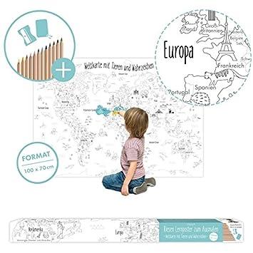 Myrmidon Germany Xxl Weltkarte Fur Kinder Zum Entdecken Und Ausmalen Mit Farbstiften Und Spitzer