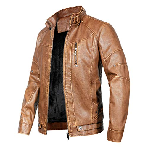 - WULFUL Men's Vintage Stand Collar Leather Jacket Motorcycle PU Jacket and Coat