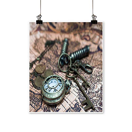 (Wall Decor Classic Grunge Pocket Watch Clock,Skeleton Keys On Ancient World Map Wall Art for Bedroom Home,32