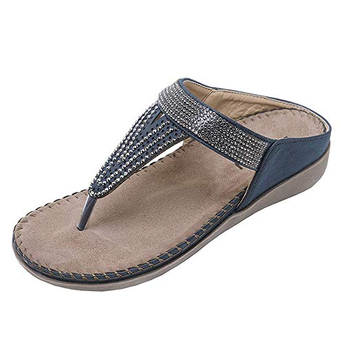 Back Strap Sandal - CANPPNY Women's Rhinestone Thong Sandals Elastic Slingback Strap Flat Shoes Blue