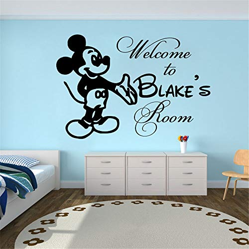 Pikat Vinyl Removable Wall Stickers Mural Decal Art Family Decals for Kids Room Mickey Mouse Personalized Name Bedroom Wall Decor -