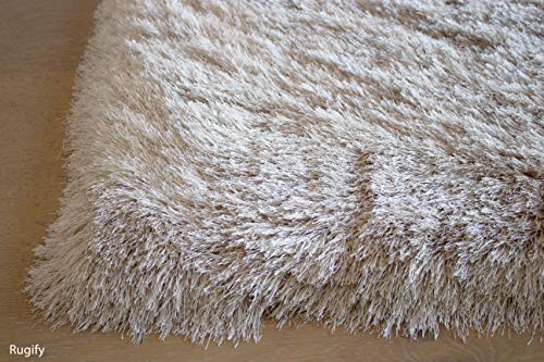 LA Shag Shaggy Fluffy Large Furry Rectangular Solid Patterned Sparkle Plush Fur Large Fuzzy Floor Soft Plain Modern Pile 5-Feet-by-7-Feet Polyester Made Area Rug Carpet Rug Beige Color