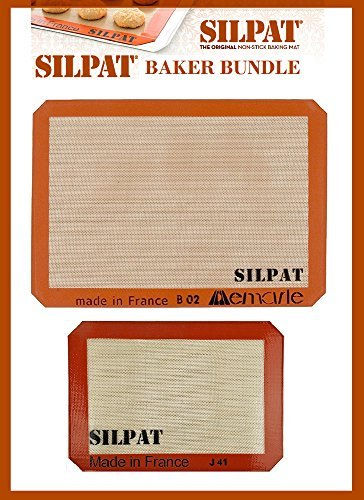 Silpat Bakers Bundle (US Half Size 11-5/8'' x 16-1/2'' Silicone Baking Mat & 8-1/4'' x 11-3/4'' Jelly Roll) by Silpat