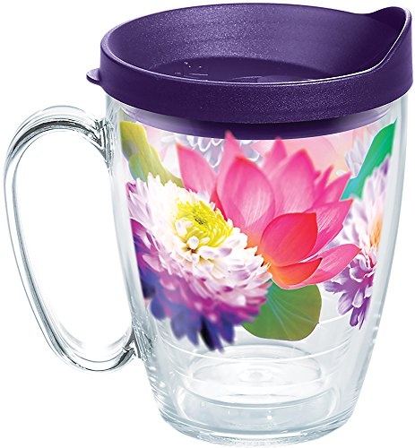 - Tervis 1286280 Floral Filter Tumbler with Wrap and Royal Purple Lid 16oz Mug, Clear