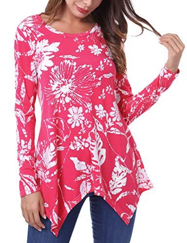 DJT FASHION Women's Floral Print Irregular Hem Asymmetrical Tunic Tops Large Rosy Flower (Flower Top Hem)