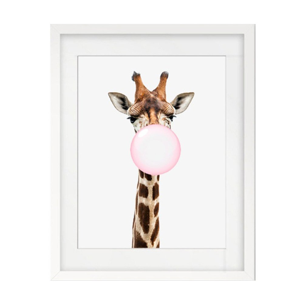 Butterfly Iron Giraffe Blowing Bubble Modern Wall Art Canvas Wall Decorative Painting for Home Decor
