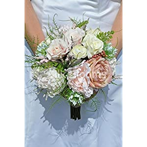 Vintage Artificial Peony and Rose Bridal Bouquet with Fern Berries and Cornflowers 109